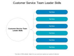 Customer Service Team Leader Skills Ppt Powerpoint Presentation Styles Shapes Cpb