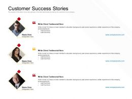 Customer Success Stories Testimonial Ppt Powerpoint Presentation Infographics Graphics