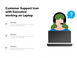 Customer Support Icon With Executive Working On Laptop