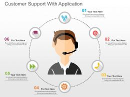Customer Support With Application Flat Powerpoint Design