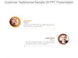 Customer Testimonial Sample Of Ppt Presentation