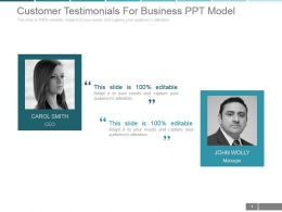 Customer Testimonials For Business Ppt Model