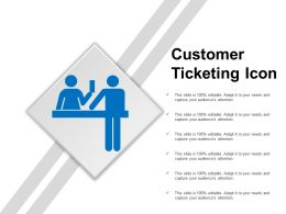 Customer Ticketing Icon Powerpoint Slide