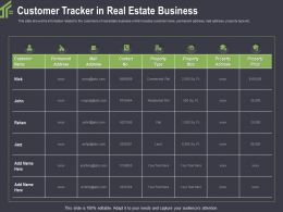 Customer Tracker In Real Estate Business Plot Ppt Powerpoint Presentation Example
