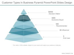 Customer Types In Business Pyramid Powerpoint Slides Design