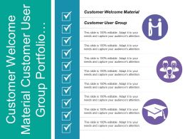 Customer Welcome Material Customer User Group Portfolio Management
