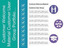 Customer Welcome Material Customer User Group Portfolio Management