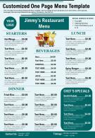 Customized One Page Menu Template Presentation Report Infographic PPT PDF Document
