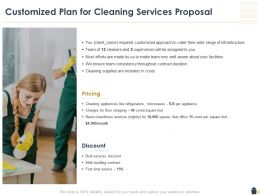 Customized Plan For Cleaning Services Proposal Ppt Powerpoint Outline