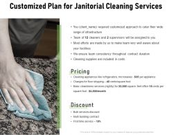 Customized Plan For Janitorial Cleaning Services Ppt Powerpoint Presentation Icon Clipart