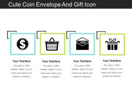 Cute Coin Envelope And Gift Icon