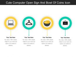 Cute Computer Open Sign And Bowl Of Coins Icon