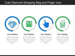 Cute Diamond Shopping Bag And Finger Icon