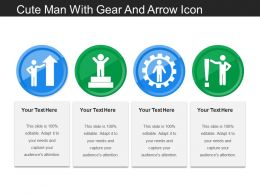 Cute Man With Gear And Arrow Icon