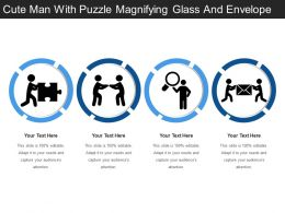 Cute Man With Puzzle Magnifying Glass And Envelope