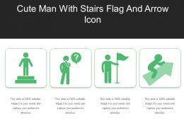 Cute Man With Stairs Flag And Arrow Icon