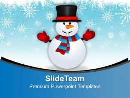 Cute Snowman On Snowy Background PowerPoint Templates PPT Themes And Graphics