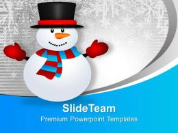 Cute Snowman On Snowy Mountain Holidays PowerPoint Templates PPT Themes And Graphics