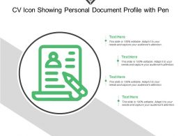 Cv Icon Showing Personal Document Profile With Pen