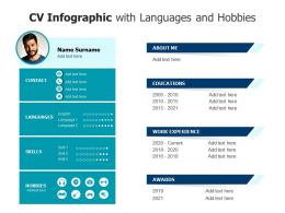 CV Infographic With Languages And Hobbies