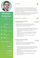 CV Sample Resume Design With Personal Details And Professional Skills