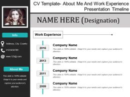 Cv Template About Me And Work Experience Presentation Timeline