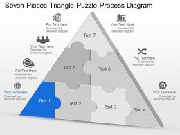 Cw Seven Pieces Triangle Puzzle Process Diagram Powerpoint Template