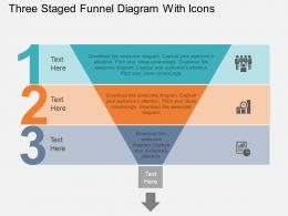 cw Three Staged Funnel Diagram With Icons Flat Powerpoint Design