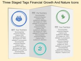 cw Three Staged Tags Financial Growth And Nature Icons Flat Powerpoint Design