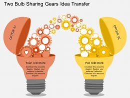 cx_two_bulb_sharing_gears_idea_transfer_flat_powerpoint_design_Slide01
