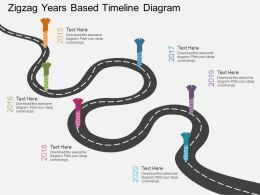 Cx Zigzag Years Based Timeline Diagram Flat Powerpoint Design