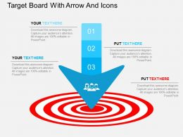 Cy Target Board With Arrow And Icons Flat Powerpoint Design