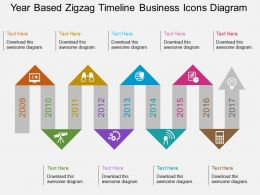 cy Year Based Zigzag Timeline Business Icons Diagram Flat Powerpoint Design