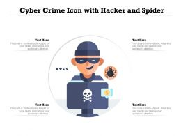 Cyber Crime Icon With Hacker And Spider