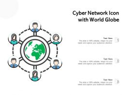 Cyber Network Icon With World Globe