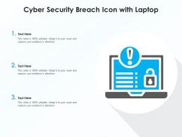Cyber Security Breach Icon With Laptop