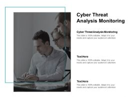 Cyber Threat Analysis Monitoring Ppt Powerpoint Presentation Styles File Formats Cpb