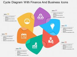 Cycle Diagram With Finance And Business Icons Flat Powerpoint Design