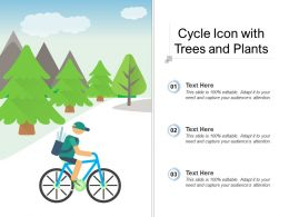 Cycle Icon With Trees And Plants