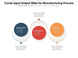 Cycle Input Output Slide For Manufacturing Process