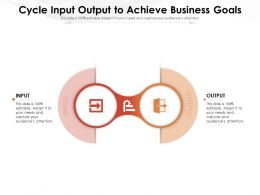Cycle Input Output To Achieve Business Goals