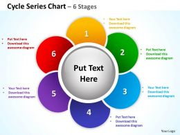 cycle series chart 6 stages powerpoint diagrams presentation slides graphics 0912