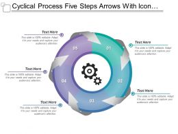 Cyclical Process Five Steps Arrows With Icons And Textboxes