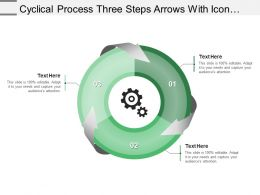 Cyclical Process Three Steps Arrows With Icons And Textboxes