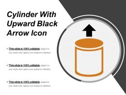 Cylinder With Upward Black Arrow Icon