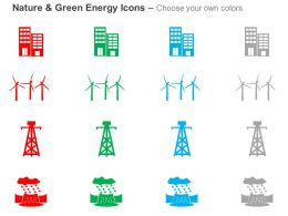 Cz Green Energy Icons With Windmill Towers And Building Ppt Icons Graphics