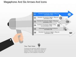 cz Megaphone And Six Arrows And Icons Powerpoint Template
