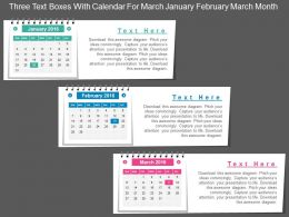 cz_three_text_boxes_with_calendar_for_march_january_february_march_month_flat_powerpoint_design_Slide01