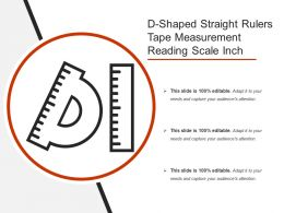 D Shaped Straight Rulers Tape Measurement Reading Scale Inch