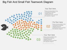 da Big Fish And Small Fish Teamwork Diagram Flat Powerpoint Design